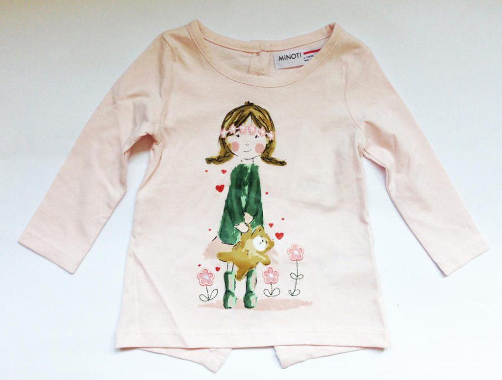Tričko dívčí s dlouhým rukávem, Minoti, PRETTY 1, růžová - 86/92