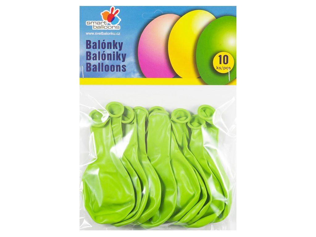 Balónek nafukovací - sada 10ks SV.ZLENÉ 26cm, Smart Balloons, W040580