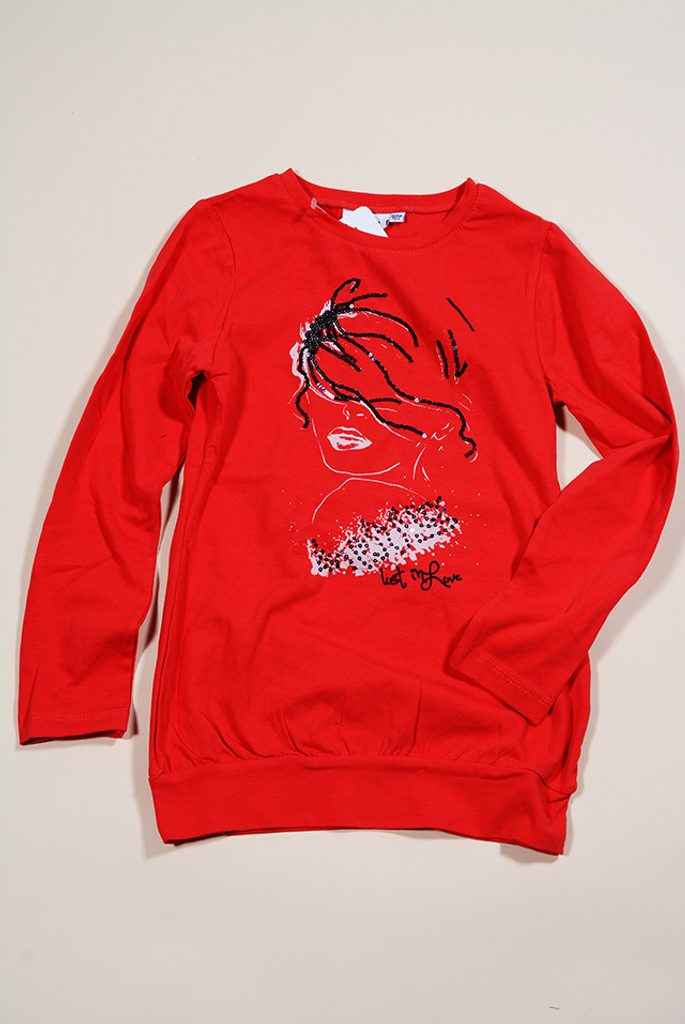 tričko s dlouhým rukávem, Wendee, FS39126-1, červená - 98