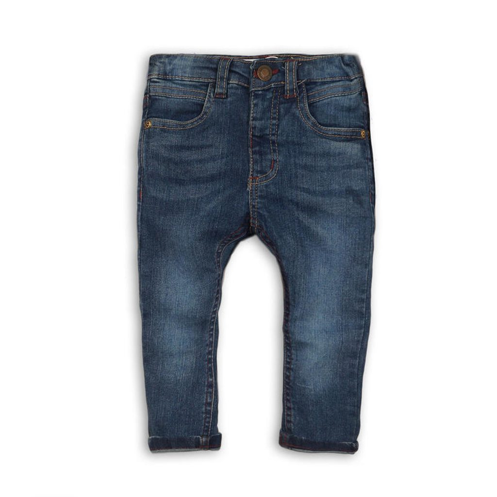 Kalhoty chlapecké džínové s elastenem a barevným prošíváním, Minoti, ALLSTAR 9, světle modrá - 104/110