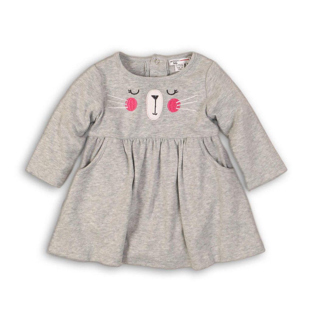 Šaty kojenecké s bodyčkem, Minoti, BUNNY 12, šedá - 74/80