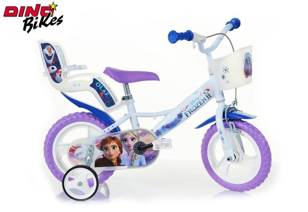 Dětské kolo se sedačkou pro panenku a košíkem Frozen 2, Dino Bikes, W012699