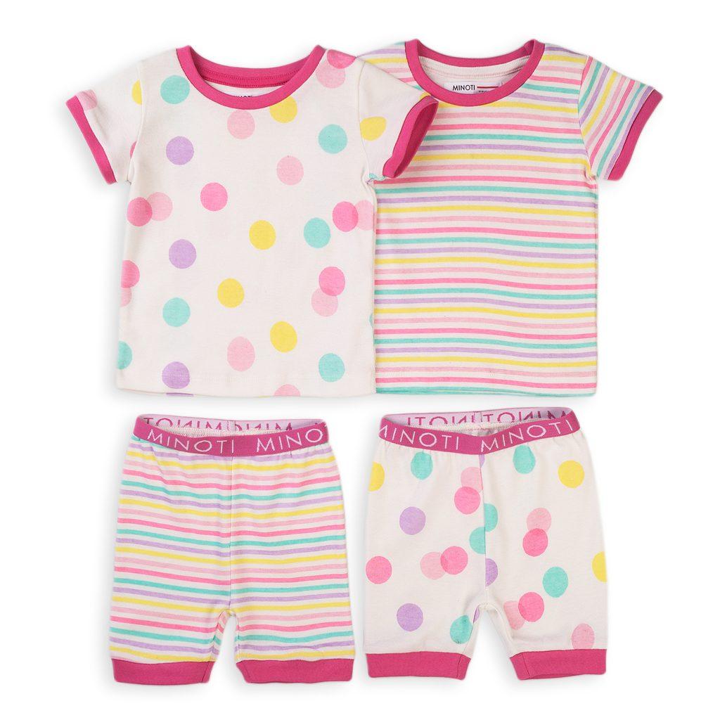 Pyžamo dívčí krátké, 2pack, Minoti, TG PYJ 10, růžová - 98/104