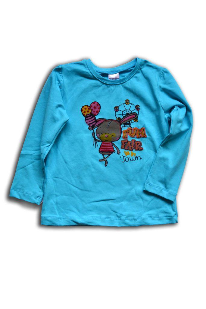 tričko dívčí, dlouhý rukáv, Wendee, OZKB102579-0, tyrkysová - 98