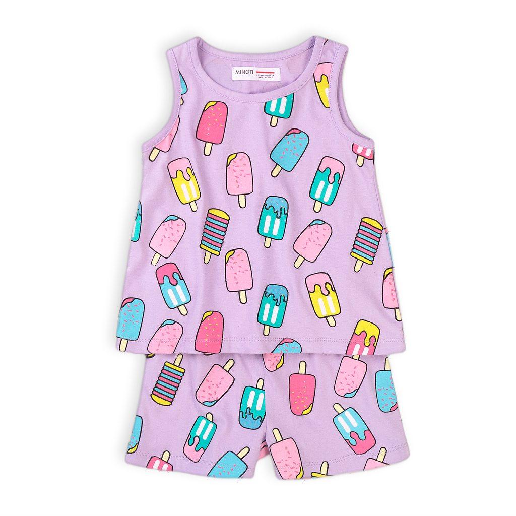 Pyžamo dívčí krátké, Minoti, KG PYJ 18, fialová - 152/158
