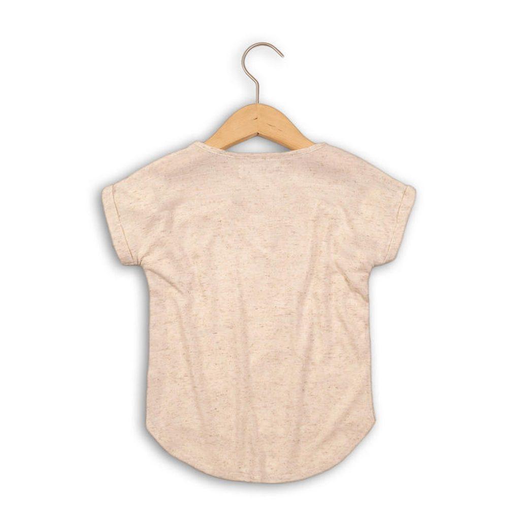 Tričko dívčí s krátkým rukávem, Minoti, SHIMMER 6, béžová - 134/140