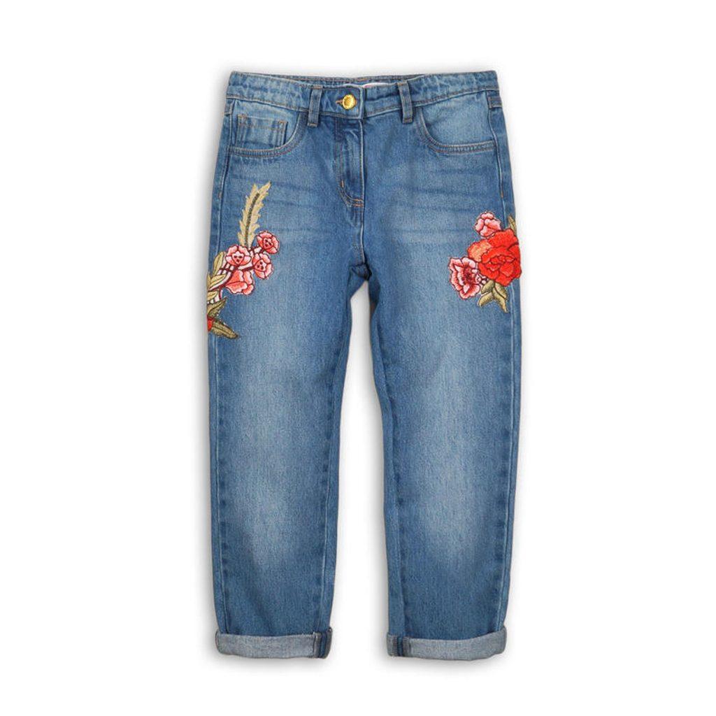 Kalhoty dívčí džínové s výšivkami, Minoti, UTILITY 9, modrá - 140/146