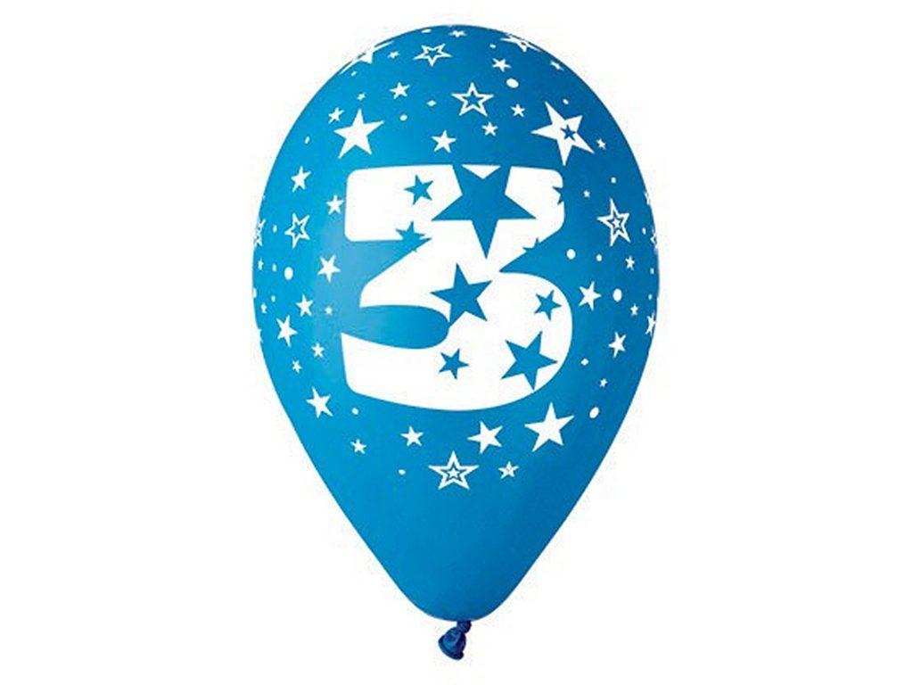 """Balónek nafukovací - sada 5ks ČÍSLO """"3"""", Smart Balloons, W040541"""