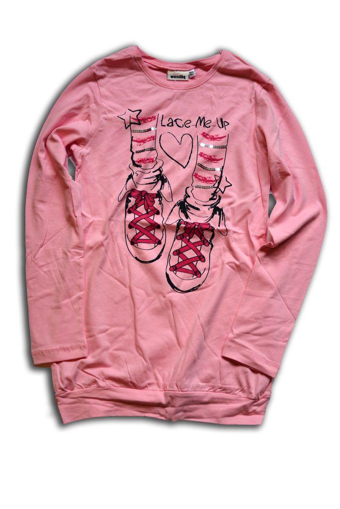 tričko dívčí, dlouhý rukáv, Wendee, OZFB39209-2, růžová - 146