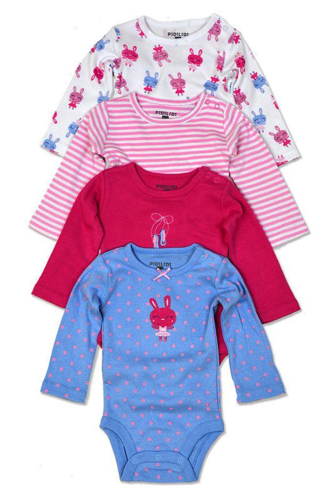 body kojenecké 4pack, s dlouhým rukávem, Pidilidi, PD1003, holka - 74/80