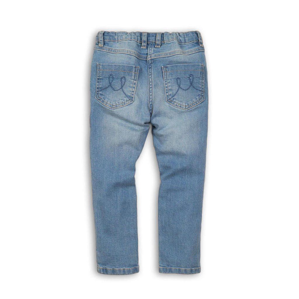 Kalhoty dívčí džínové s výšivkami, Minoti, REBEL 10, modrá - 104/110