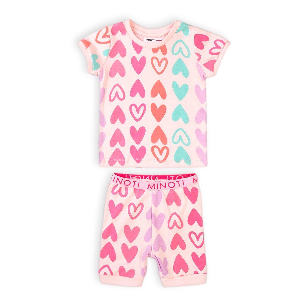 Pyžamo dívčí krátké, Minoti, TG PYJ 7, růžová - 98/104