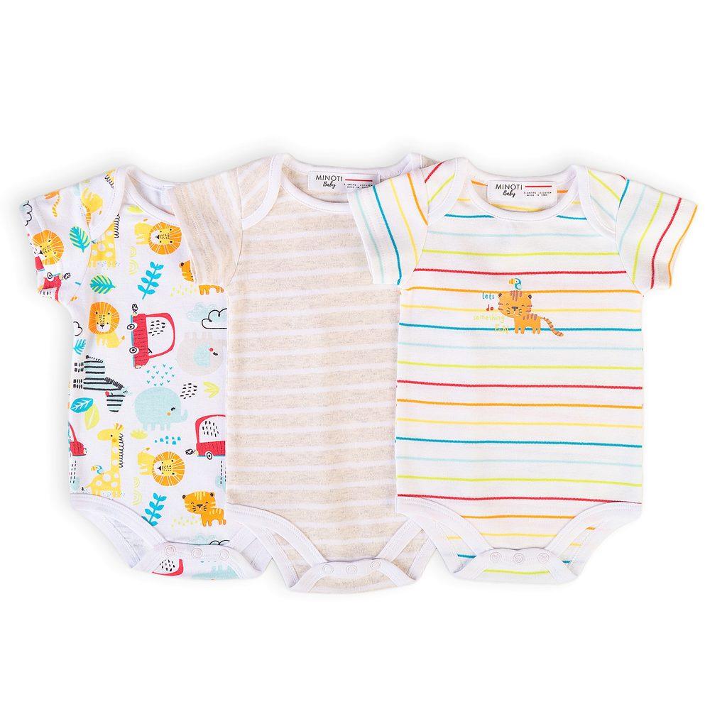 Body kojenecké 3pack, Minoti, Car 10, bílá - 50