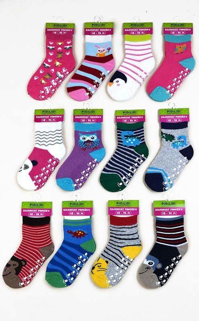 ponožky kojenecké FROTÉ protiskluzové, Pidilidi, PD0121, mix. - 86/92