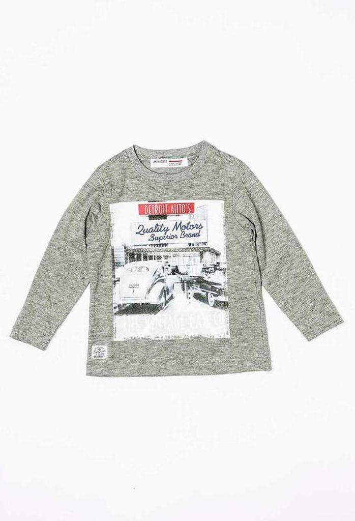 Tričko chlapecké s dlouhým rukávem, Minoti, RACE 3, šedá - 92/98