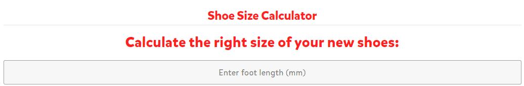 Výpočet velikosti obuvi