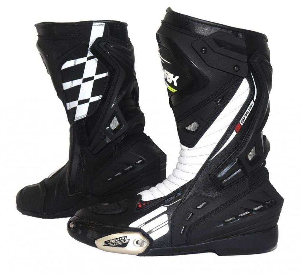 Pánske cestovné moto topánky Spark Mugello, čierno-biele