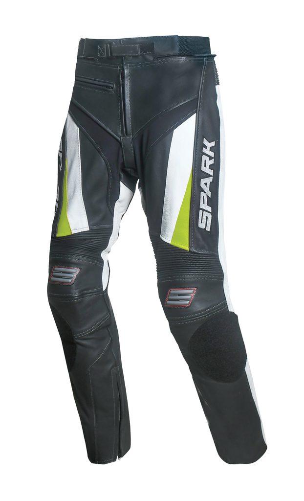 Pánske kožené moto nohavice Spark ProComp, biele