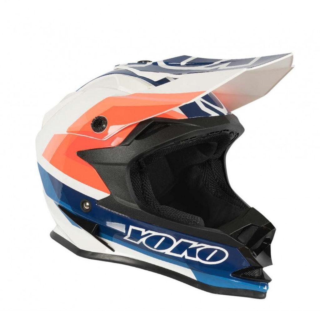 MX helmet YOKO SCRAMBLE bielo / modro / oranžová