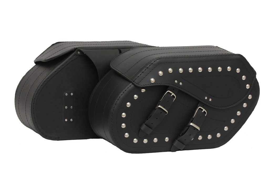Kožené moto brašne TechStar Cruiser zdobené cvokmi, čierne