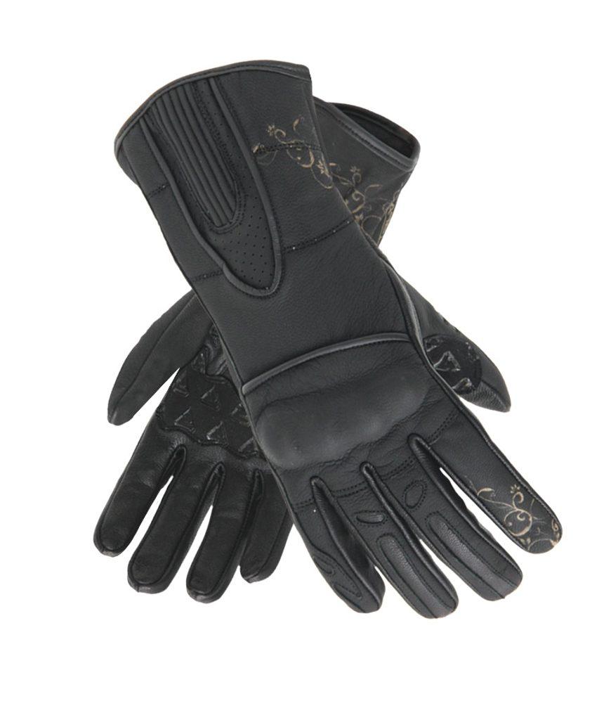 Dámske kožené moto rukavice Spark Nella, čierne