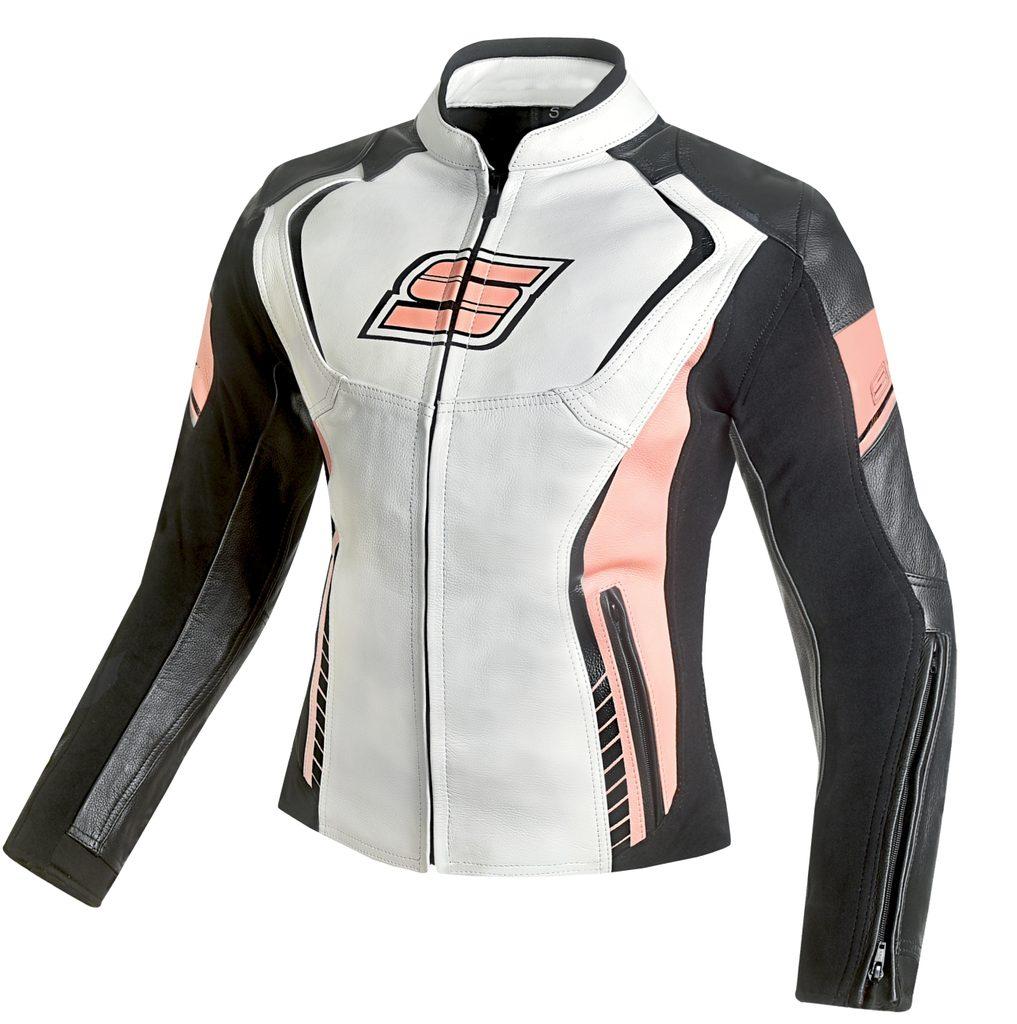 Dámska kožená moto bunda Spark Lina, Pink