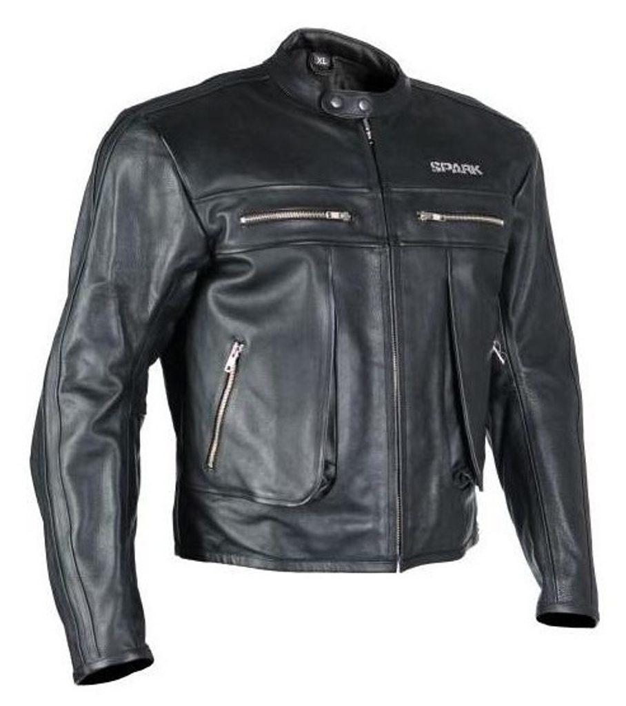 Pánska mestská kožená bunda SPARK classic, čierna