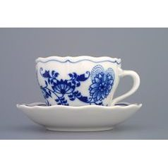Cup and saucer A/2 plus A/1 0,17 l/13 cm for coffee, Original Blue Onion Pattern
