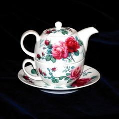 English rose: Čajová sada 3 díl. Tea for one set, Anglický porcelán Roy Kirkham
