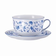 Cup breakfast 300 ml  plus  saucer 15 cm, FORM 1382 Blaublüten, Arzberg porcelain