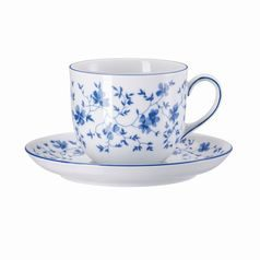 Cup 180 ml coffee  plus  saucer 13,5 cm,  FORM Sugar 1382 Blaublüten, Arzberg porcelain