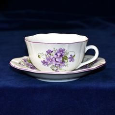 Cup and saucer mirror C/1 plus ZC1 0,20 l / 15,5 cm for tea, Violet, Cesky porcelan a.s.