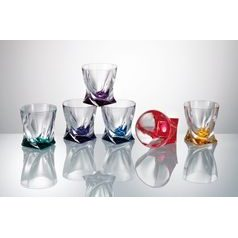 Quadro coloured - Glass 210 ml, 6 pcs., Crystalite Bohemia