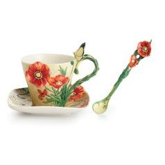 Van Gogh Poppy flower design sculptured porcelain cup and saucer 13,5 x 10 cm, FRANZ Porcelain