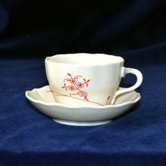 Cup and saucer B plus B 0,21 l / 14 cm for coffee, Red Onion Pattern ECO on ivory, Cesky porcelan a.s.