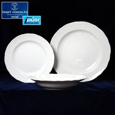 Plate set for 6 persons, 24, 21, 19 cm, White, Cesky porcelan a.s.
