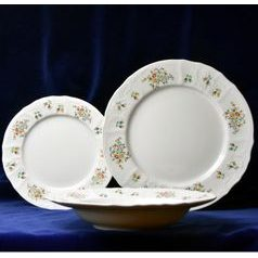 Plate set for 6 pers., Thun 1794 Carlsbad porcelain, BERNADOTTE flowers with gold