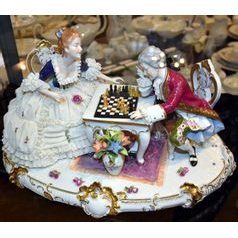 Chess players (Madam with lace) 30 x 20 cm, Kurt Steiner, Porcelain Figures Unterweissbacher