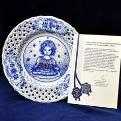 Annual plate 2020, wall, perforated, 18 cm, Original Blue Onion Pattern