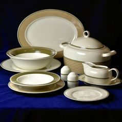 Dining set for pers., Thun 1794 Carlsbad porcelain, Cairo 30381 ivory