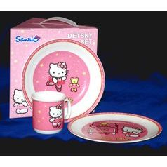 Children's Porcelain Dining set Hello Kitty pink, Thun 1794