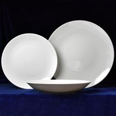 Plate set big for 6 pers., Coups white 24-22-19, Thun 1794 Carlsbad porcelain