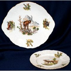 Cake set for 6 persons, Thun 1794 Carlsbad porcelain, BERNADOTTE Hunting