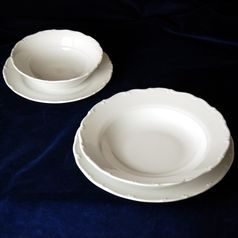 Plate set with salad bowls for 6 pers., Ophelie white, Thun 1794