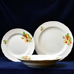 Plate set for 6 pers. 24-24-19, strawberry, Cesky porcelan a.s.