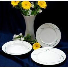 Plate set for 6 persons, Thun 1794 Carlsbad porcelain, OPAL grass