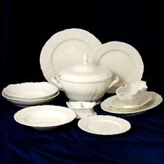Dining set for 6 persons, Thun 1794 Carlsbad porcelain, Bernadotte ivory