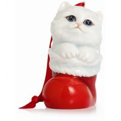 Holiday greetings cat ornament h=8cm, FRANZ Porcelain