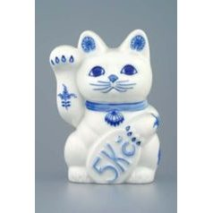 Cat for coin saving - invitation cat 16 x 9 cm, Original Blue Onion Pattern