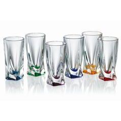 Quadro coloured - Liquere tall glass 50 ml, 6 ks., Crystalite Bohemia